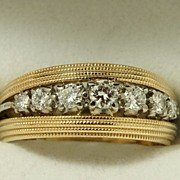 SALE Estate 14K Jabel Triple Band with Diamonds