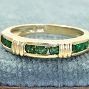 SALE Estate 14K Emerald Band