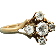 SALE Estate 10K White Zircon Five Stone Ring