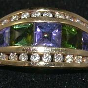 SALE Kabana 14K Amethyst Peridot and Diamond Ring