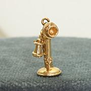 SALE 14K Vintage Phone Charm