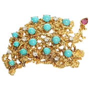 SALE Estate 18K Diamond Turquoise Ruby Brooch