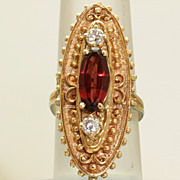 SALE Estate 14K Garnet White Zircon Lozenge Ring