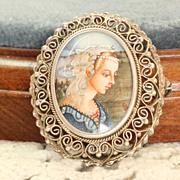 SALE Vintage 800 Silver Filigree Portrait Pin/Pendant