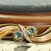 SALE Estate 14K Tri Color Gold Retro Blue Zircon Brooch