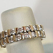 SALE Pair Estate 18K Eternity Bands 3 CT Diamonds