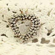 SALE Estate 14 K Large Heart Diamond Pendant