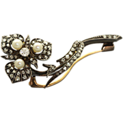 SALE 1880 French Diamond Sterling Gold Pearl Brooch