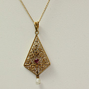 """SALE 18"""" Vintage 14K Garnet Filigree Pearl Pendant"""