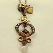 SALE 10K Vintage Amethyst Pearl Pendant