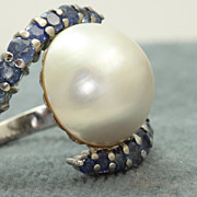 SALE Estate Custom Platinum Montana Sapphire  Mabe Pearl Ring