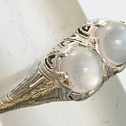 SALE 18K Filigree Double Moonstone Ring