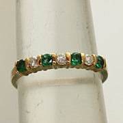 SALE Estate 14K 0.70 CT Emerald and Diamond Band