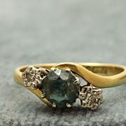 SALE Estate English 18 K Blue Zircon and Diamond Ring