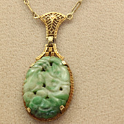 SALE Estate 14K Lavalier Filigree Carved Jade Pendant