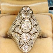 SALE Estate 18KW Filigree 2 CT Old European Cut Diamond Lozenge Ring