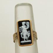 SALE 14K Victorian Hardstone Cameo Ring