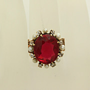 SALE 14K Victorian Corundum Ruby Diamond Seed Pearl Ring