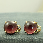 SALE Estate 14K Rhodolite Garnet Diamond Post Earrings