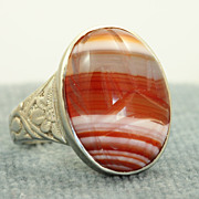 SALE Estate 14KW Banded Agate Scarab Ring