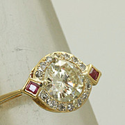 SALE Estate Deco 18K 1.16 CT Diamond and Ruby Ring