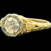 SALE Estate 18K Jabel 1.03 CT Old European Cut Diamond Filigree Ring