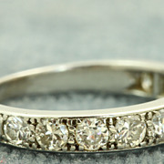 SALE French Estate Platinum Old European Cut Diamond Band