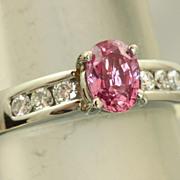 SALE Estate Jeff Cooper Platinum Natural Pink Sapphire Diamond Ring