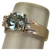 SALE Estate 18 K White Gold 2.35 CT Blue Zircon and Diamond Ring