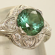 SALE Platinum 2.3 CT Tourmaline and Diamond Filigree Ring