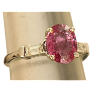 SALE Estate Platinum 2.5 CT Pink Sapphire and Diamond Ring