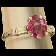 SALE Estate Platinum 2.5 CT Pink Sapphire and Diamond Ring