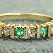SALE Estate 14 K Columbian Emerald Half Eternity Band
