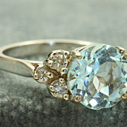 SALE 14 KW 3.27 CT Blue Topaz and Diamond Ring