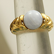 SALE Retired 18 k 7 CT Blue Chalcedony Bulgari Ring