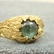 SALE Estate 18 K Detailed Tourmaline Ring