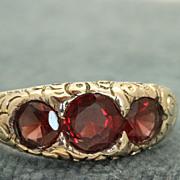 Estate 14 K Three Stone Garnet Gypsy Ring