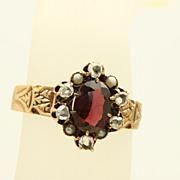 SALE Vintage 14 K Garnet Rose Cut Diamonds Seed Pearl Ring