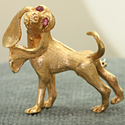 SALE Estate 1960's 14 K Hound Dog Pin with Ruby Eyes
