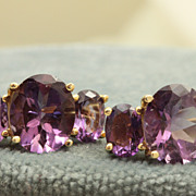 SALE Estate 14 K 13.6 CT Amethyst Earrings
