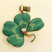SALE 14 K 4 Leaf Clover Diamond Art Nouveau Pin
