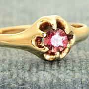SALE 14 K Estate Belcher Raspberry Tourmaline Ring