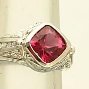 SALE Estate 14 KW 3 CT Raspberry Tourmaline Diamond Ring