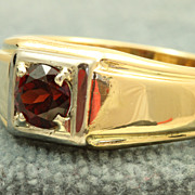 SALE Estate 18 K Jabel 1.2 CT Garnet Man's Ring