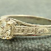 SALE Estate 18 KW 1.14 CT Old European Cut Diamond Ring