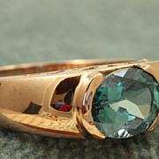 SALE Estate 14 K 2 CT Blue Zircon Rose Gold Ring