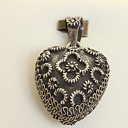 SALE Vintage Sterling Puffy Heart Pendant