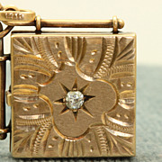 SALE 14 K Rose Gold 0.15 CT Old European Cut Diamond Locket