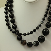 "SALE Estate 38"" Graduated Banded Agate Necklace"