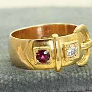 SALE Birmingham 1914 18 K Diamond and Ruby Buckle Ring